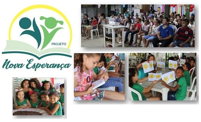 Logotipo do Projeto Nova Esperança, com fotos de crianças atendidas por esta ação aocial